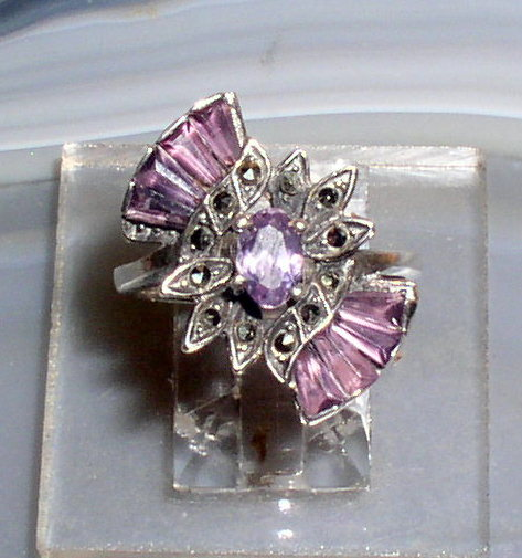 Amethyst Marcasite Ring 2