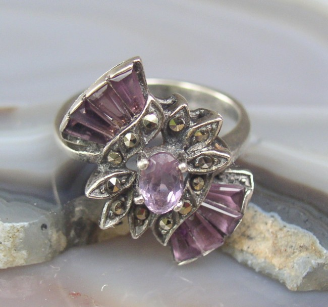 Amethyst Marcasite Ring 3