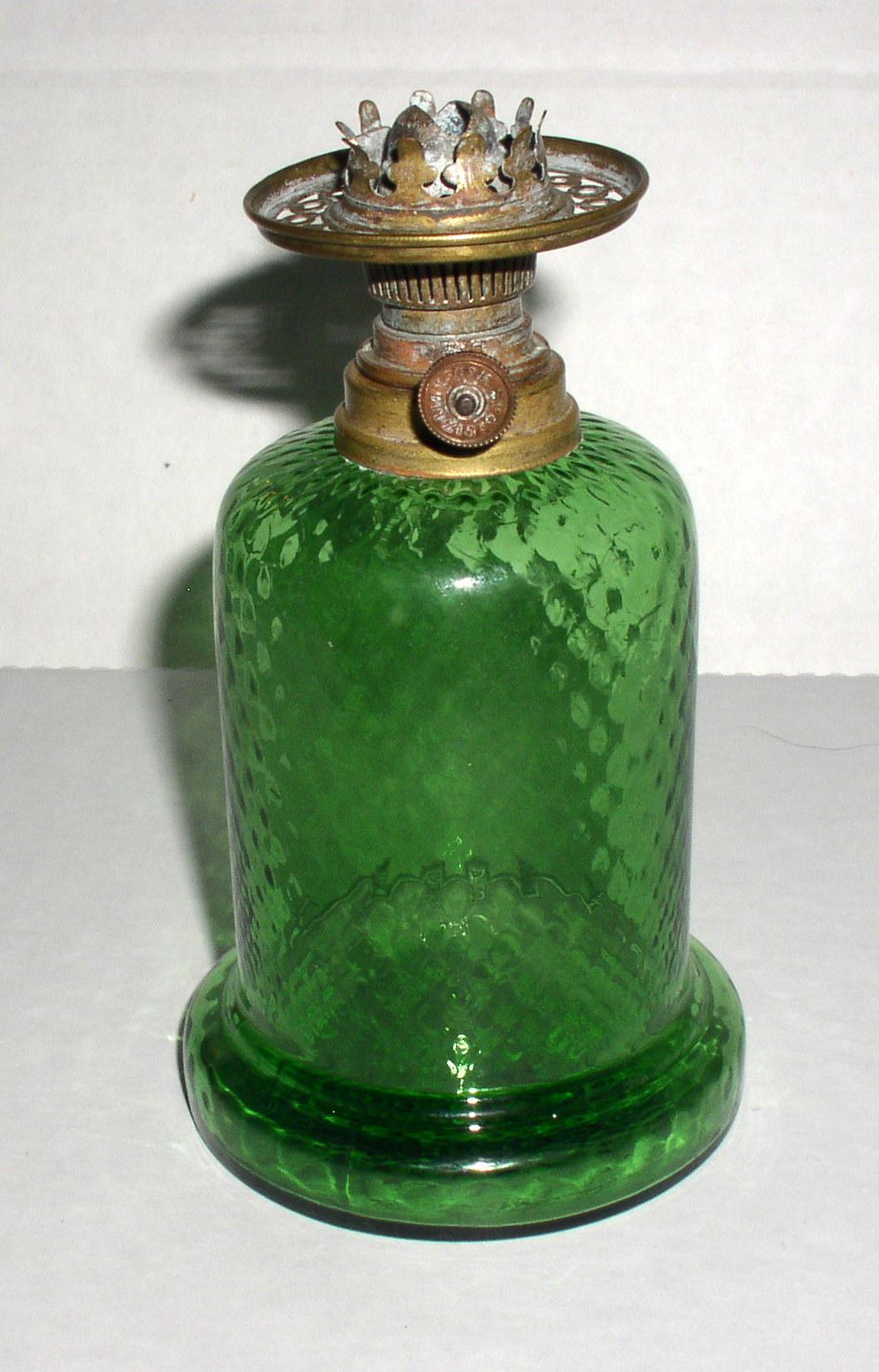 Antique Green Diamond Spar Brenner Miniature Oil Lamp H S