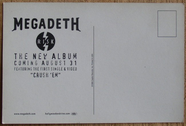 Megadeth Risk promo postcard back
