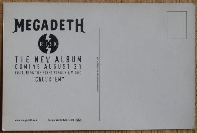 Megadeth Risk promo postcard back