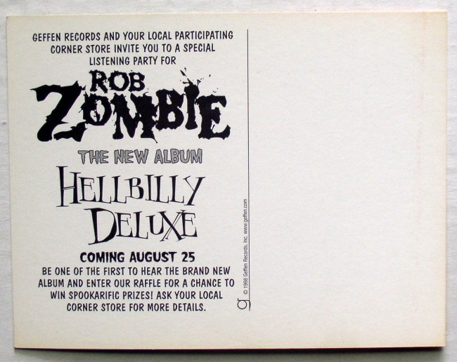 Rob Zombie Hellbilly Deluxe Postcard 2