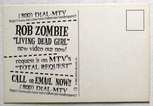 Rob Zombie Living Dead Girl Postcard 2