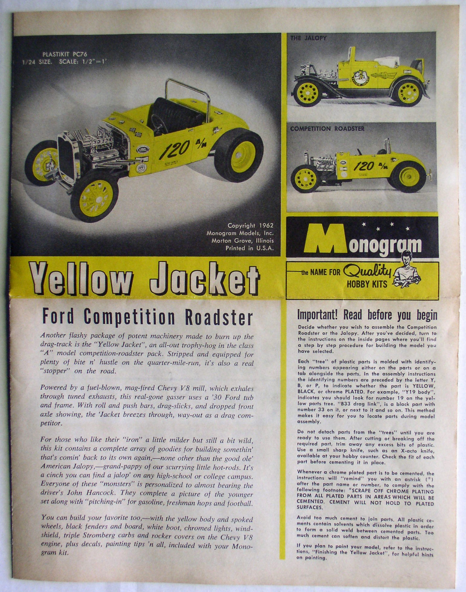 Monogram Yellow Jacket Ford Roadster 1/24 Model Kit with