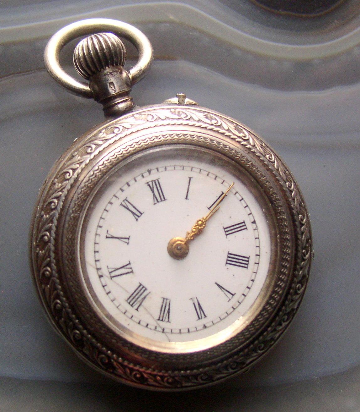 765eb7bac Antique 800 Silver P&M Guivre Ladies Pendant Pocket Watch Swiss Movement