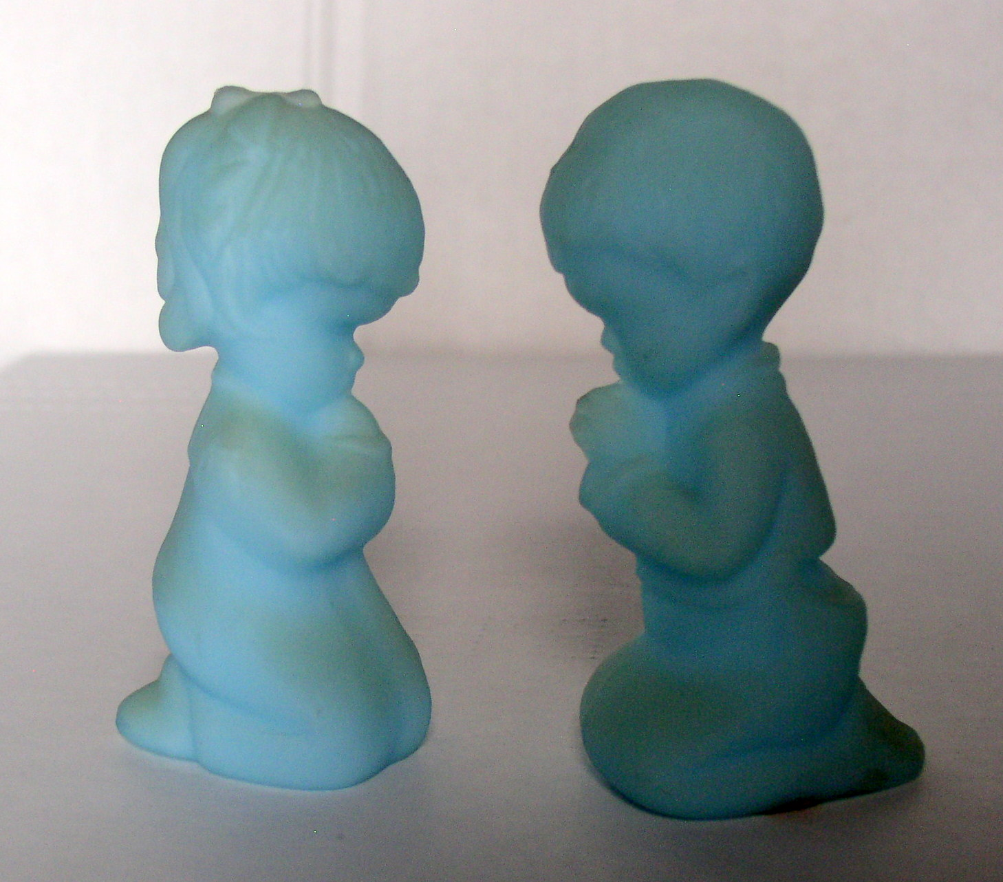 Empire Auto Sales >> Fenton Praying Boy And Girl 3 3/4″ Opaque Satin Glass Baby Blue Glass Figurines – Thingery ...