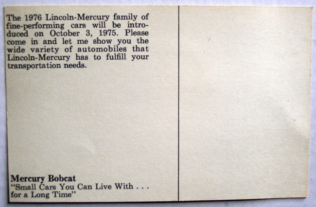 Mercury Bobcat Postcard 2