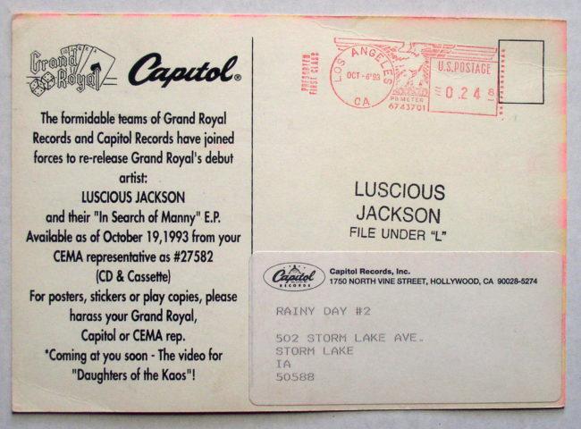Luscious Jackson Promo Postcard 2