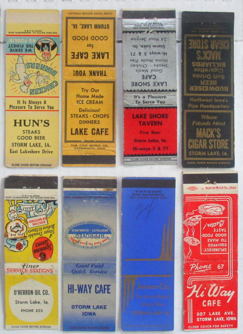 Storm Lake Iowa Match Book Covers 3