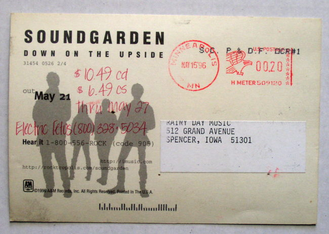Soundgarden / Down On The Upside Postcard 2