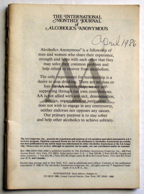 AA Grapevine April 1986 1